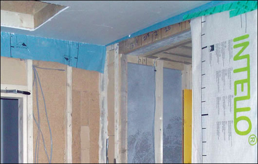 The Intello Plus membrane and Homatherm Holzflex woodfibre insulation supplied by Ecological Building Systems