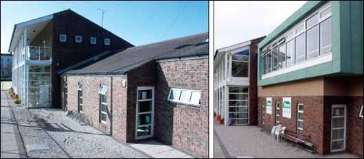 Before and after shots of the front facade, showing the new glazed extension with green copper cladding over the changing rooms