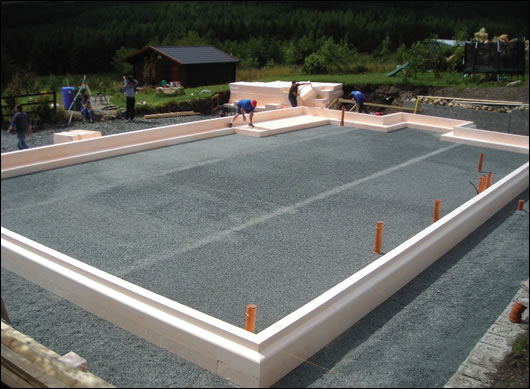 The Isoquick insulation formwork around the edges of the foundation