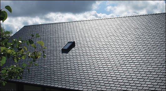 Tthe roof was finished with Athy Ecoslate, which is produced in Kildare from recycled polypropylene imported from the UK
