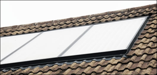 the 20 square metre array of Solar Focus collectors is designed to provide most of the house's heating needs
