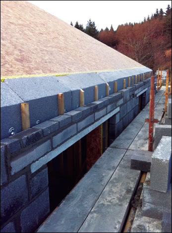 200mm Platinum EPS external insulation cut level with the roof pitch